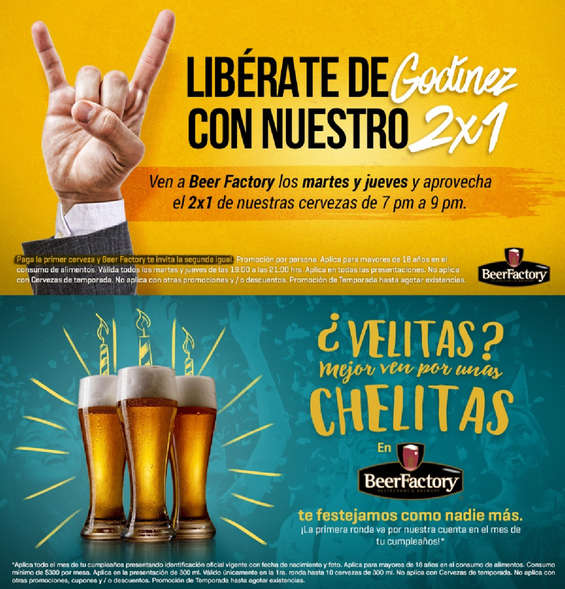 Ofertas de Beer Factory, Promociones