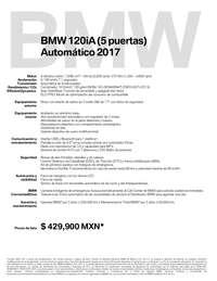Ficha Técnica BMW 120iA (5 puertas) Automático 2017