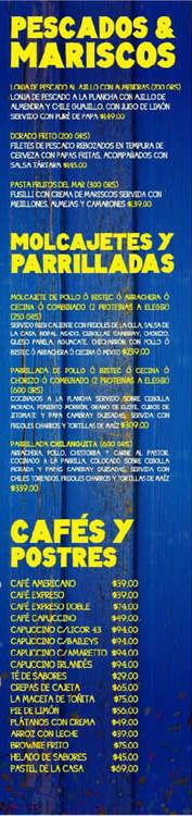 Ofertas de La Chilanguita, Menú