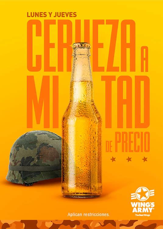 Ofertas de Wing's Army, Cerveza a mitad de precio