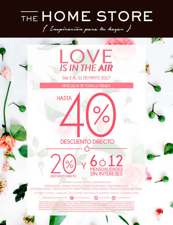 Ofertas de The Home Store, Love is in the Air 40% de descuento