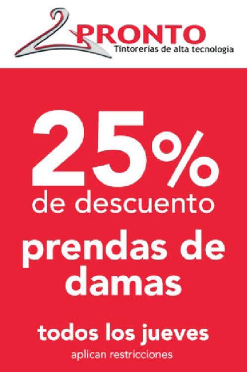 Ofertas de Tintorerías Pronto, 25% de descuento