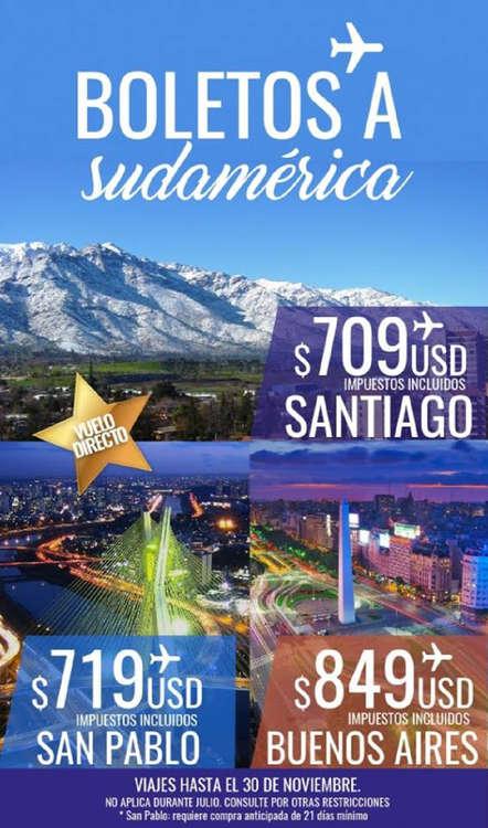 Ofertas de RS Viajes, Boletos a Sudamérica
