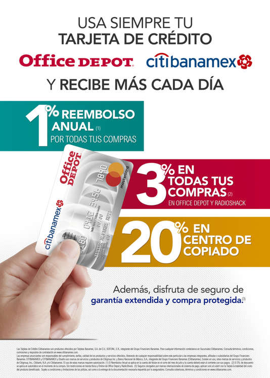 Ofertas de Office Depot, Usa siempre tu tarjeta de crédito Office Depot Citibanamex