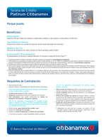 Ofertas de Citibanamex, Tarjeta de crédito Platinum Citibanamex