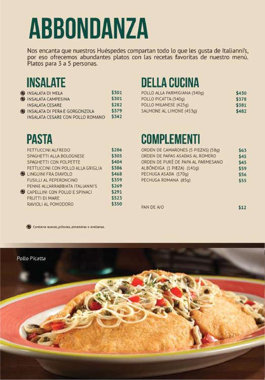 Ofertas de Italianni's, Menú Italiannis