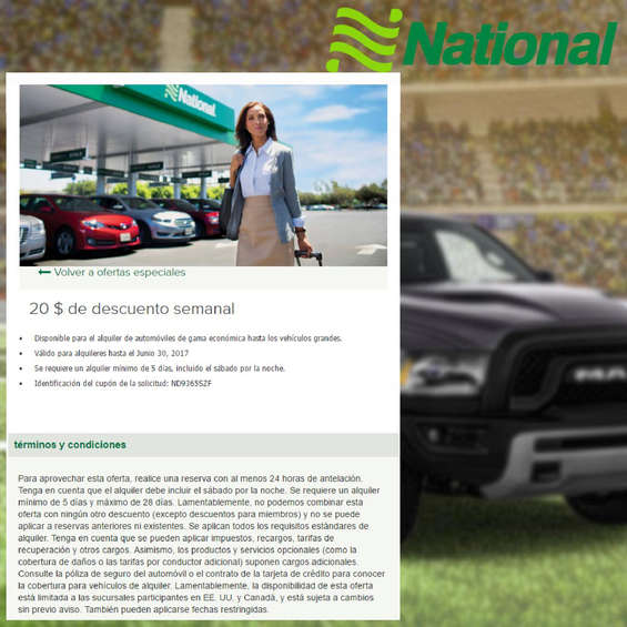 Ofertas de National Car Rental, Descuento semanal