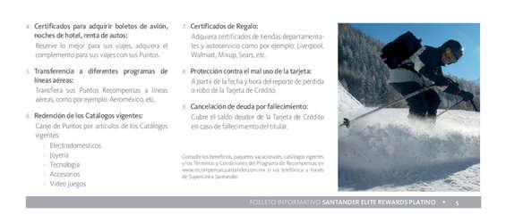Ofertas de Santander, Folleto Informativo Elite Rewards Platino