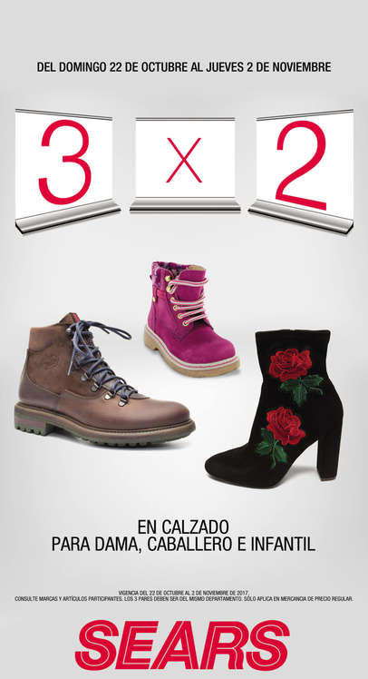 Ofertas de Sears, 3x2 en calzado